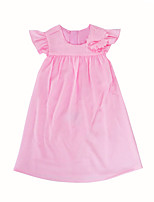 Girl's Daily Going out Solid Dress,Cotton Summer Short Sleeves Cute Princess Fuchsia Blushing Pink