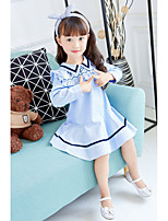 Girl's Birthday Casual/Daily Striped Dress,Cotton Polyester Spring Fall Long Sleeves Simple Cute Blue