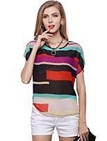 cheap -Women's Holiday Going out Cute Active Sexy Street chic All Seasons Blouse,Striped Round Neck Short Sleeve Polyester Medium