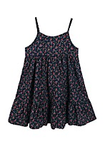 Girl's Casual/Daily Floral Dress,Polyester Spring Summer Sleeveless Simple Navy Blue