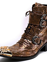 cheap -Unisex Shoes Nappa Leather Winter Fall Fashion Boots Motorcycle Boots Combat Boots Boots Mid-Calf Boots for Casual Party & Evening Gold