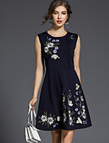 cheap -SHE IN SUN Women's Going out Work Vintage Casual A Line Dress,Floral Round Neck Midi Sleeveless Polyester Fall Mid Rise Inelastic Opaque