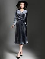 Недорогие -Для женщин На выход Винтаж На каждый день А-силуэт Платье Однотонный,V-образный вырез Макси 3/4 рукава Полиэстер Осень Со стандартной