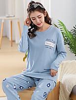 Costumes Pyjamas Femme,Imprimé Imprimé Coton Bleu