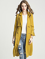 cheap -Women's Casual/Daily Work Vintage Sophisticated Winter Fall Trench CoatSolid Notch Lapel Long Sleeve Long Cotton Polyester