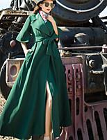 economico -Impermeabile Da donna Per uscire Moda città Inverno Autunno,Tinta unita Colletto alla Peter Pan Poliestere Lungo Maniche lunghe