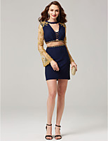 Sheath / Column Two Piece High Neck Short / Mini Jersey Cocktail Party Dress with Beading Appliques by TS Couture®