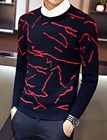 Недорогие -Для мужчин На каждый день Обычный Пуловер С принтом,Круглый вырез Длинные рукава Полиэстер Зима Осень Толстая Слабоэластичная