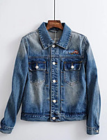 Women's Going out Simple Fall Denim Jacket,Print Shirt Collar Long Sleeve Regular Polyester Embroidered