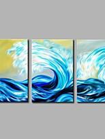 Недорогие -Ручная роспись Пейзаж Modern Холст Hang-роспись маслом Украшение дома 3 панели