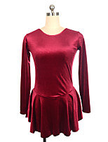 cheap -Figure Skating Dress Women's Girls' Ice Skating Dress Red Fuchsia Black Spandex Inelastic Performance Practise Skating Wear Solid Long