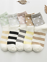 cheap -Women's Hosiery Medium Socks,Cotton Polyester Jacquard Color Block Print Five-piece Suit Rainbow