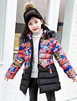 cheap -Girls' Daily Solid Floral Butterfly Down & Cotton Padded,Cotton Polyester Long Sleeves Cute Active Cartoon Blushing Pink Red