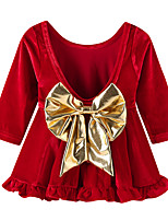 cheap -Girl's Christmas Birthday Solid Metal Finish Dress,Polyester Winter Long Sleeves Princess Red