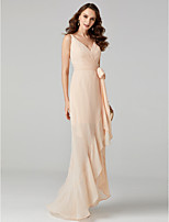 cheap -Princess V-neck Asymmetrical Chiffon Formal Evening Dress with Sash / Ribbon Criss Cross by TS Couture®
