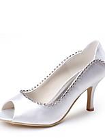 cheap -Women's Shoes Silk Spring Summer Basic Pump Wedding Shoes Stiletto Heel Peep Toe Rhinestone for Wedding Party & Evening White