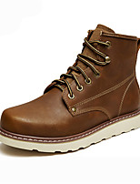 cheap -Men's Shoes Leather Winter Fall Fur Lining Comfort Combat Boots Boots Booties/Ankle Boots for Casual Outdoor Brown Black