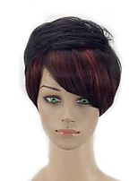 cheap -Women Synthetic Wig Short Curly Black/Red Layered Haircut Natural Wigs Costume Wig