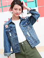 cheap -Women's Going out Casual/Daily Simple Spring Fall Denim Jacket,Print Shirt Collar Long Sleeve Short Cotton Polyester Embroidered