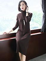 abordables -Tricot Robe Femme Sortie Chic de Rue,Couleur Pleine Mao Mi-long Manches longues Rayonne Polyester Nylon Hiver Automne Taille médiale