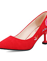 Women's Shoes Nubuck leather Spring Fall Basic Pump Comfort Heels Customized Heel Pointed Toe Satin Flower for Party & Evening Dress Red