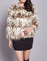 cheap -Women's Casual/Daily Simple Winter Fall Fur Coat,Leopard V Neck Long Sleeve Short Faux Fur Fur Trim