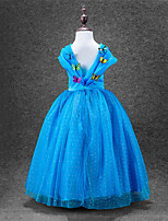 cheap -Cinderella One Piece Dress Party Costume Kid Christmas Masquerade Birthday Festival / Holiday Halloween Costumes Blue Solid