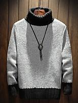 Недорогие -Для мужчин На каждый день Короткий Пуловер Однотонный,Хомут Длинный рукав Полиэстер Зима Толстая Слабоэластичная