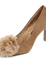 cheap -Women's Shoes PU Winter Fall Comfort Heels Chunky Heel Pointed Toe for Casual Camel Black