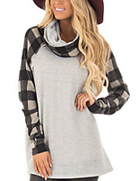 cheap -Women's Daily Going out Street chic Punk & Gothic All Seasons T-shirt,Color Block Turtleneck Long Sleeve Cotton Acrylic Medium