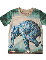 cheap -Boys' Animal Print Blouse,Silk Summer Navy Blue Green