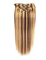 Недорогие -На клипсе Расширения человеческих волос 7Pcs / обновления 70g / пакет Каштановый / Bleach Blonde Средний коричневый / Клубника Blonde