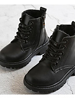 Boys' Shoes Synthetic Microfiber PU Winter Fall Comfort Combat Boots Boots Walking Shoes Mid-Calf Boots Lace-up for Casual Black