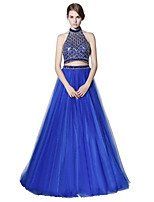 A-Line Halter Floor Length Tulle Prom Formal Evening Dress with Beading Sequins by Sarahbridal