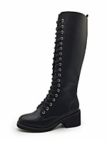 cheap -Women's Shoes PU Winter Fall Comfort Boots Flat Heel Knee High Boots Rivet for Casual Office & Career Black