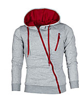 cheap -Men's Petite Casual/Daily Simple Hoodie Color Block Hooded Without Lining Micro-elastic Cotton Polyester Long Sleeve Winter Fall