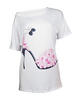 economico -T-shirt Da donna Casual Per uscire Romantico Attivo Sensuale Estate Autunno,Con stampe Monocolore Rotonda Poliestere Medio spessore