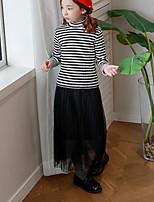 Menina de Vestido Feriado Listrado Outono Algodão Poliéster Manga Longa Simples Preto