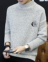 Corto Pullover Da uomo-Casual Semplice Tinta unita Con stampe Rotonda Maniche lunghe Misto lana Inverno Autunno Spesso Media elasticità
