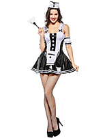 cheap -Maid Costumes Cosplay Costume Hat Maid Suits Female Halloween Carnival Festival / Holiday Halloween Costumes White Color Block