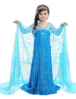 cheap -Princess Fairytale Elsa One Piece Dress Kid Christmas Birthday Masquerade Festival / Holiday Halloween Costumes Blue Sequin