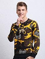 Недорогие -Для мужчин На выход На каждый день Простой Большие размеры Толстовка камуфляж Круглый вырез Без подкладки Неэластичная Хлопок Длинный