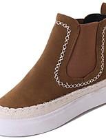 preiswerte -Damen Schuhe Nubukleder Wildleder PU Winter Herbst Komfort Modische Stiefel Stiefel Flacher Absatz Runde Zehe Booties / Stiefeletten für