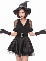 cheap -Witch Cosplay Costume Female Halloween Carnival Festival / Holiday Halloween Costumes Black Color Block
