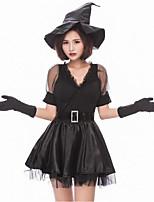 abordables -Bruja Disfrace de Cosplay Mujer Halloween Carnaval Festival / Celebración Disfraces de Halloween Negro Bloques