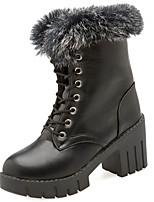 Недорогие -Для женщин Обувь Полиуретан Весна Осень Удобная обувь Ботинки Плоские для Черный