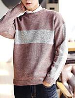 abordables -Hombre Regular Pullover Casual/Diario Simple,Estampado Escote Redondo Manga Larga Poliéster Invierno Opaco Microelástico