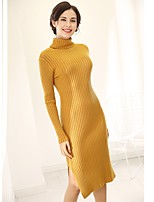 Women's Casual/Daily Simple Sheath Dress,Striped Turtleneck Midi Long Sleeve Acrylic Winter Mid Rise High Elasticity Thick