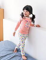 Недорогие -Девочки Пижамы Полиэстер Мультипликация Длинный рукав Мультяшная тематика Розовый