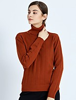cheap -FRMZ Women's Daily Work Casual Active Regular PulloverSolid Turtleneck Long Sleeves Polyester Winter Thick strenchy